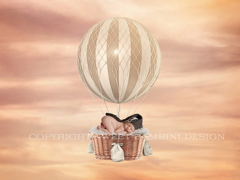 Newborn Digital Backdrop - Beige and Cream Hot Air Balloon on a sunset sky background