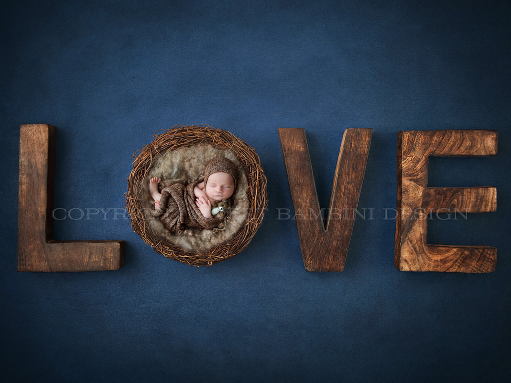 Newborn Digital Backdrop for girls or boys - Rustic Love on navy background