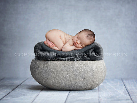Newborn Digital Backdrop - Natural stone bowl with grey blanket