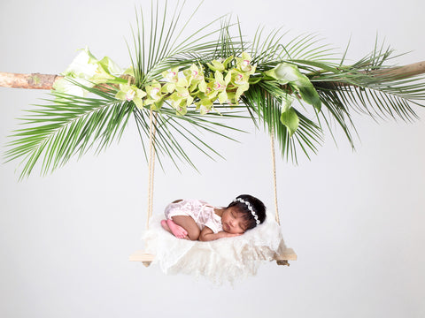 Newborn Digital Backdrop - Tropical Wooden Swing - Instant Download