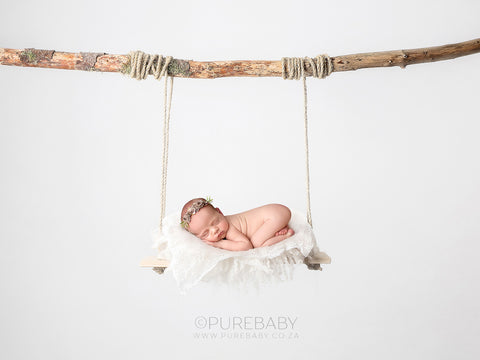 Newborn Digital Backdrop - Minimalist Wooden Swing - Instant Download