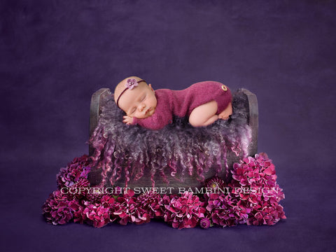 Newborn Digital Backdrop - Little Wooden Bed in purples - Fresh hydrangeas- Instant Download