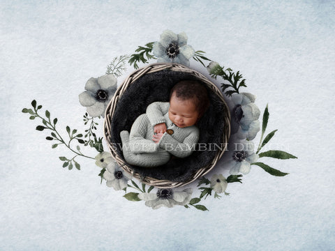 Newborn Digital Backdrop - Shades of Grey Anemones  - Instant Download, Unisex digital, Watercolour digital, Floral backdrop