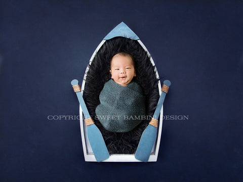 Little Blue Boat Newborn Backdrop