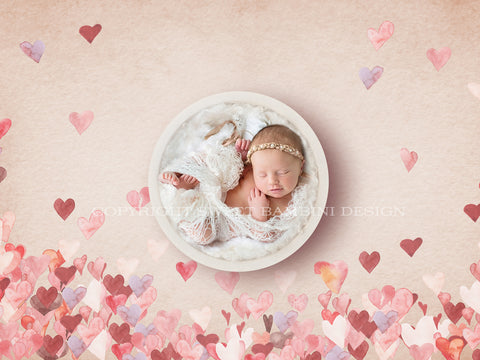 Newborn Digital Backdrop - Instant Download, Unisex digital, Watercolour digital, Hearts backdrop