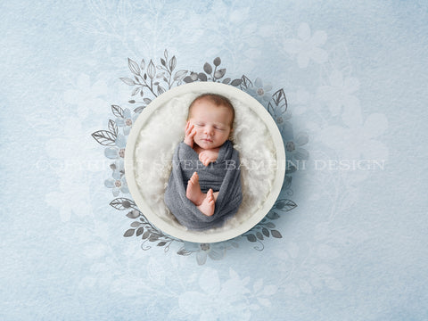 Newborn Digital Backdrop - White bowl and Watercolour Flowers - Instant Download - Watercolour digital