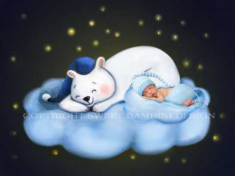 Newborn Digital Backdrop - Goodnight Cloud, painted digital backdrop