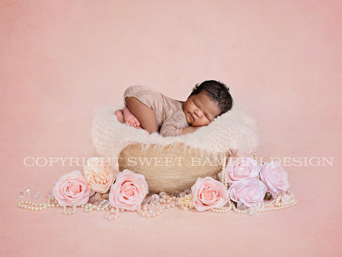 Little Vintage Basket - Newborn Digital Backdrop with pearls and light pink florals