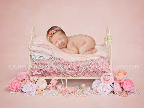 Gorgeous Little Vintage Bed- Newborn Digital Backdrop, with pearls and light pink florals