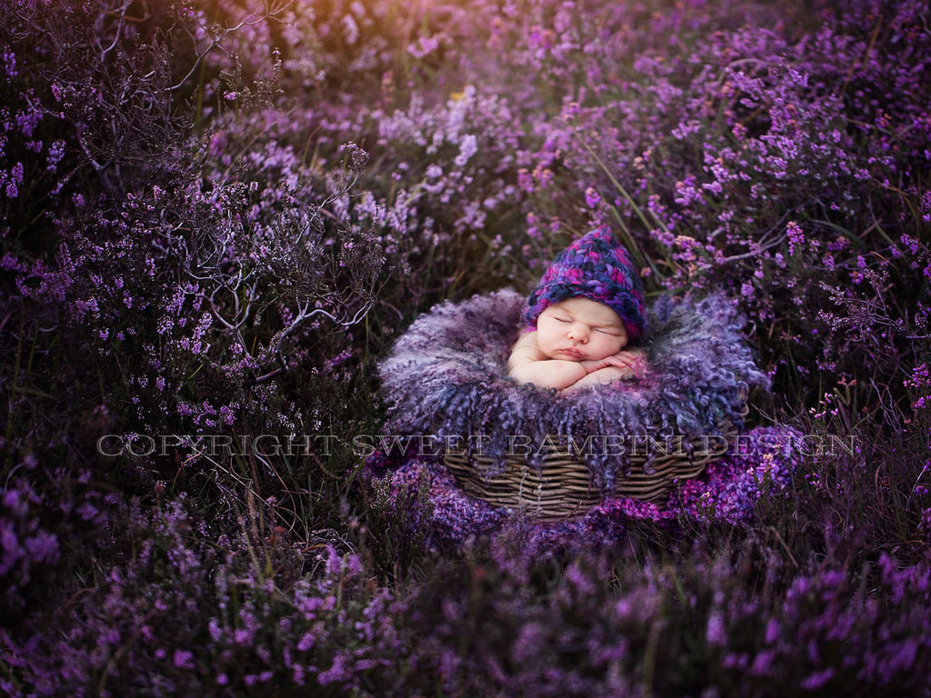 Newborn Digital Backdrop - Purple wicker basket in natural purple heather, New Forest UK