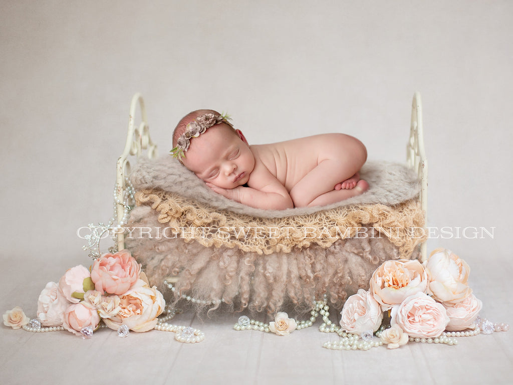 Little Vintage Bed - Newborn Digital Backdrop - Warm Tones Organic Vintage bed with pearls