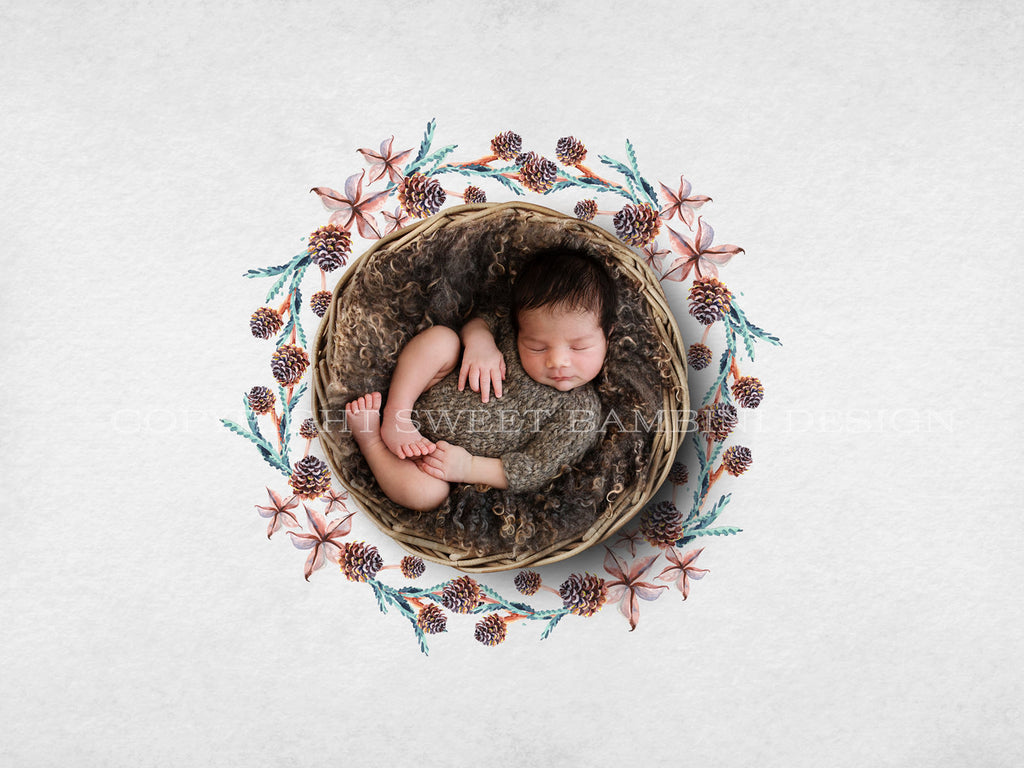 Newborn Digital Backdrop - Watercolour Pine Cone Wreath