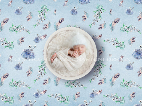 Newborn Digital Backdrop - Unisex Watercolour Winter Nest with Feathers and Berries