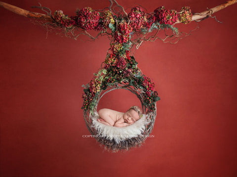 Newborn Digital Backdrop - Floral Christmas Wreath with white fur/ Newborn swing digital