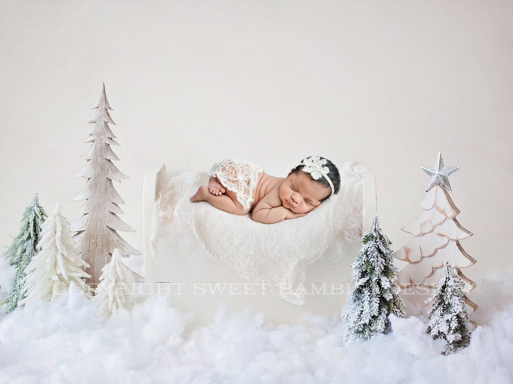 Christmas Newborn Digital Backdrop - Little white bed with Christmas Trees
