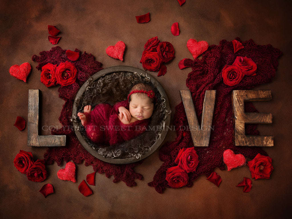 Newborn Digital Backdrop - LOVE backdrop with fresh roses and hearts