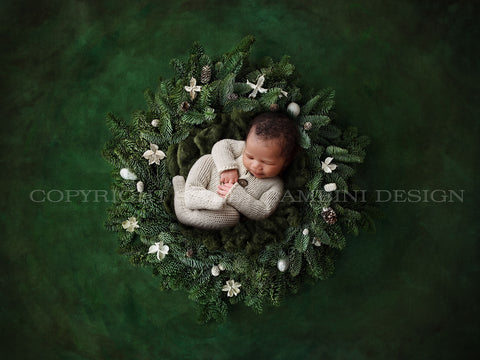 Newborn Digital Backdrop - Christmas Pine Wreath on a Green Background