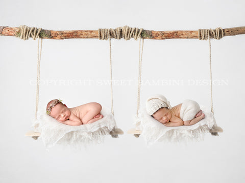 Newborn Digital Backdrop - Simple Wooden Swing for twins - Instant Download, Minimalist Wooden Swing