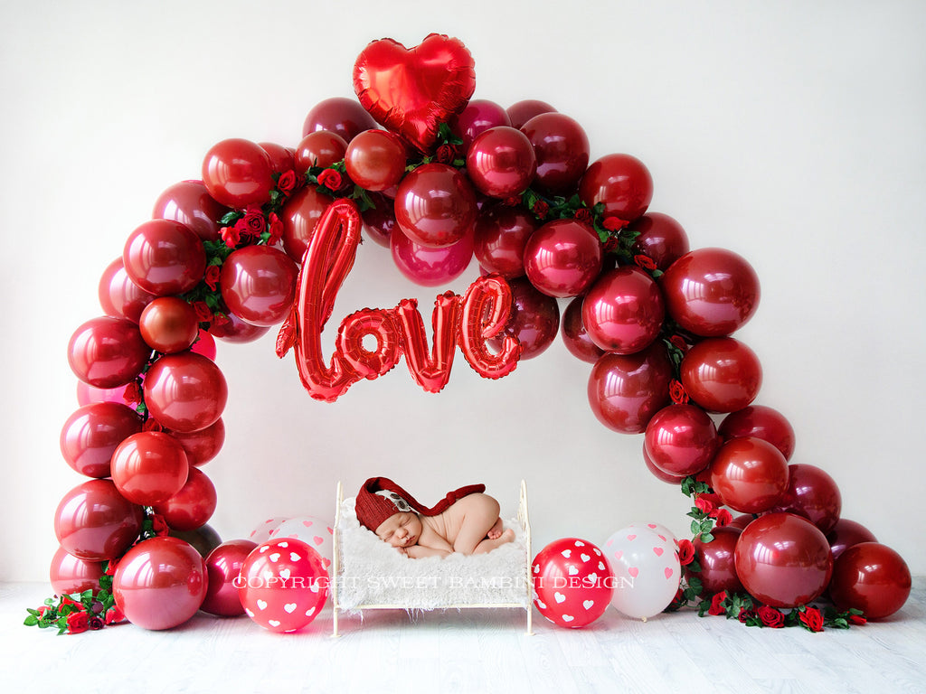Valentines Day Newborn Digital Backdrop - LOVE Balloon Arch with roses