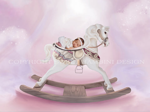 Rocking Horse Newborn Digital Backdrop on candy pink/lilac/white background