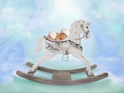 Newborn Digital Backdrop - Fantasy Rocking Horse on blue/minty background