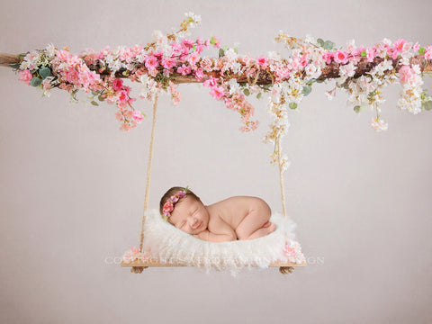 Cherry Blossom Swing Digital Backdrop, newborn digital perfect for Easter and spring