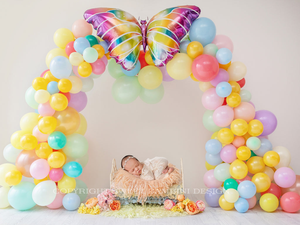Easter Newborn Digital Backdrop - Balloon Arch, Instant Download ready for you to edit