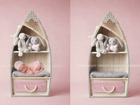 Newborn Digital Backdrop - Little Boat with Cute Bunnies