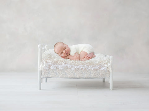 Newborn Photography Digital Backdrop for girls or boys - Simple white bed