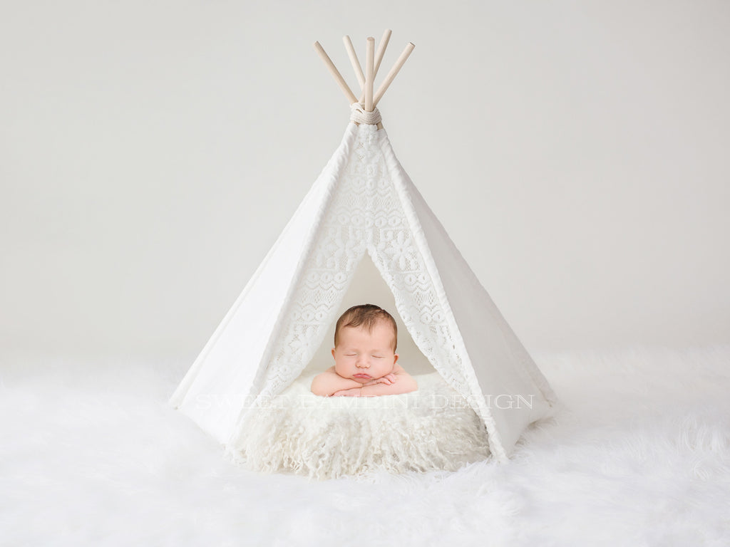 Newborn Photography Digital Backdrop for boys or girls - Simple white wigwam