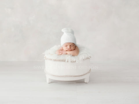 Newborn Photography Digital Backdrop for boys or girls - Simple white bucket