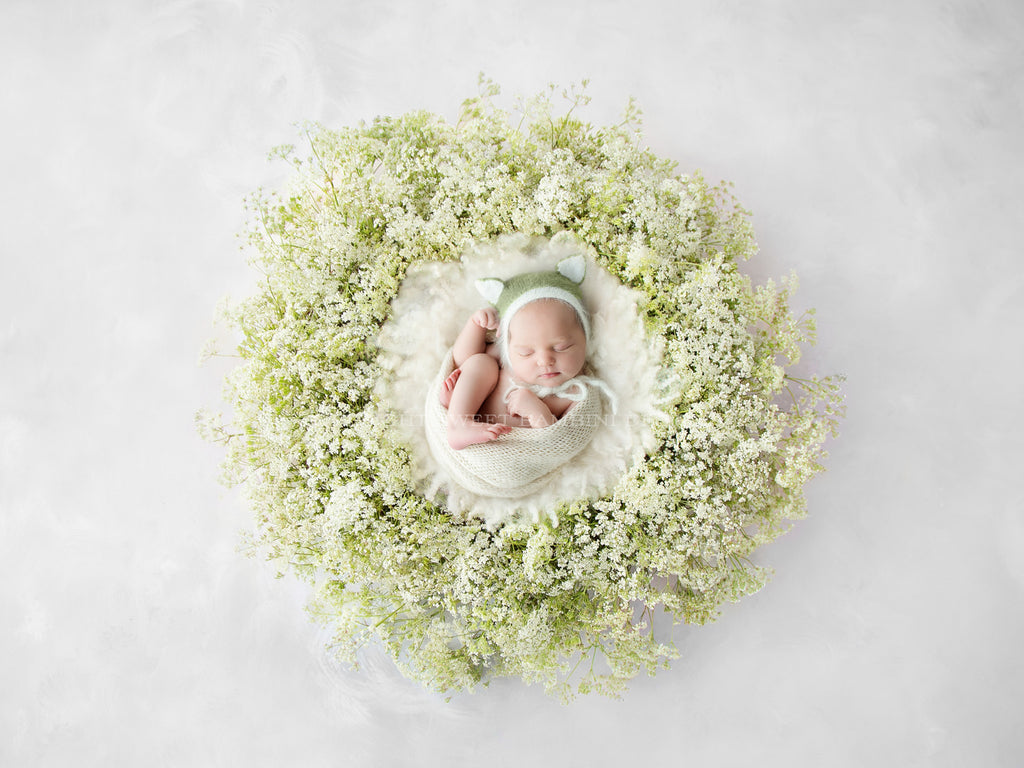Newborn Photography Digital Backdrop for girls or boys - Simple white and green fresh foliage wreath