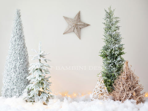 Sitter digital backdrop for Christmas - Simple Christmas woodland scene