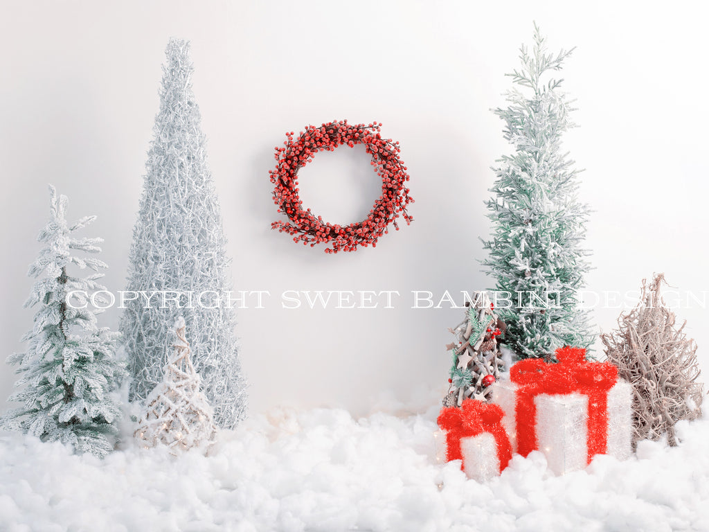 Sitter digital backdrop - Lovely Christmas scene with snowy trees, presents and a Christmas Wreath