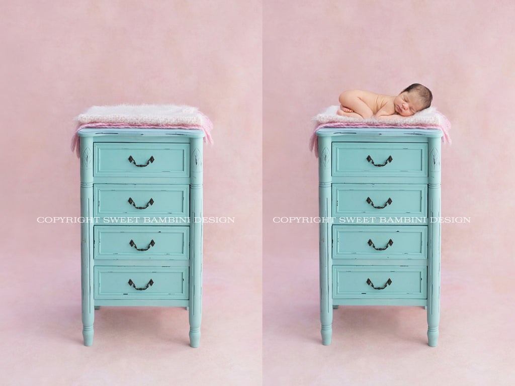 Newborn Digital Backdrop for boys or girls - Chest of drawers - Turquoise
