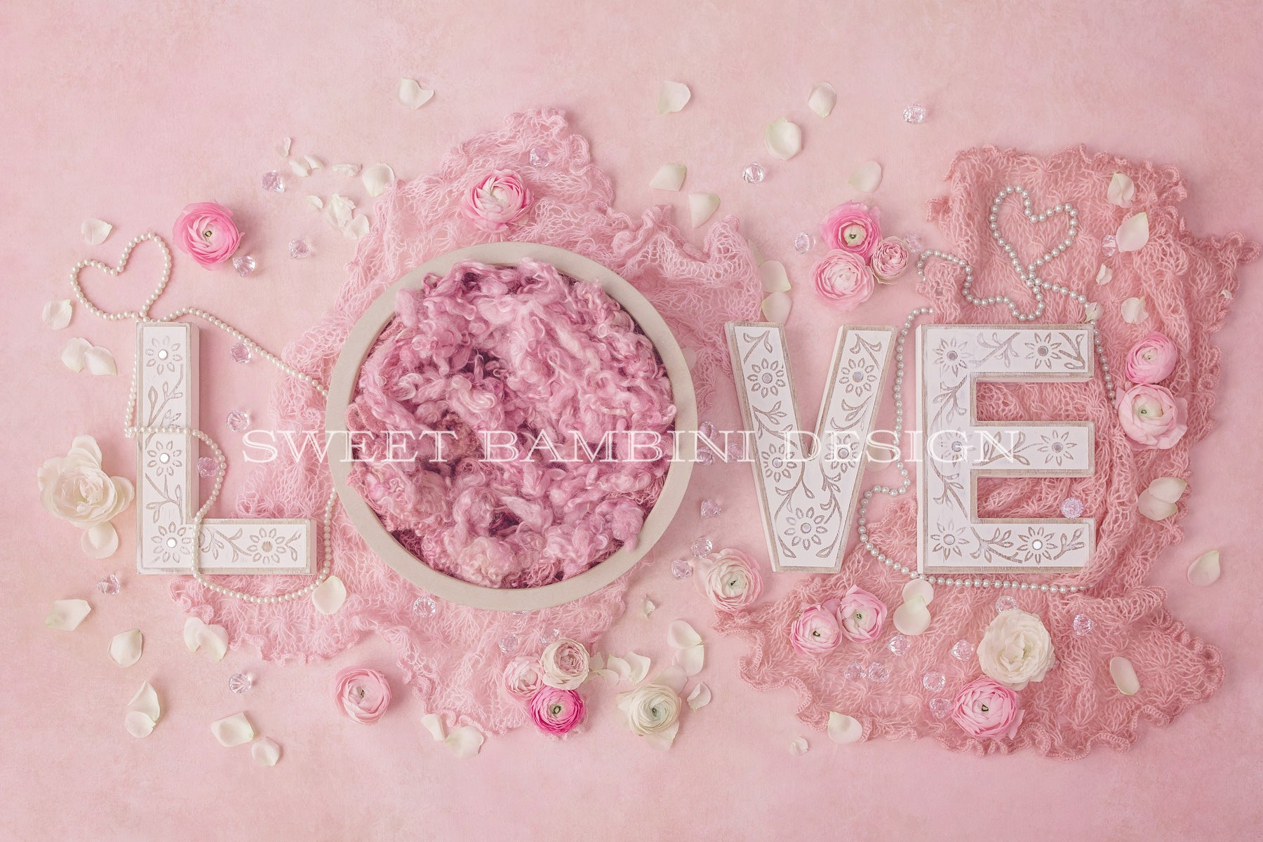 9x16Ft Vinyl Pearls Backdrop for Photography,Classic Rose and Pearls Romantic Dramatic Love Symbols Together Grace Bouquet Artwork Background Newborn Baby Photoshoot Portrait Studio Props Birthday Par