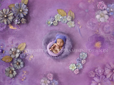 Newborn Digital Backdrop - Purple nest shot on a hand painted floral background