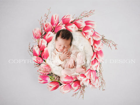 Newborn Digital Backdrop - Fresh Tulip Nest- Instant Download Ready for You to Edit