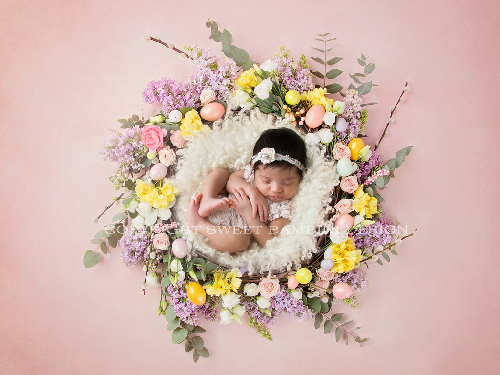 Newborn Digital Backdrop-Floral Easter Nest with Little Eggs