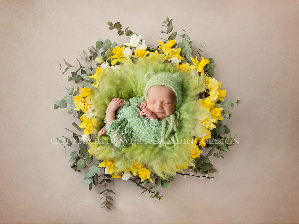Easter Newborn Digital Backdrop -Daffodil and Eucalyptus Spring Wreath, Instant Download