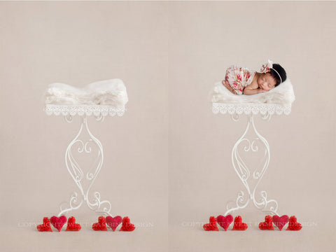 Newborn Digital Background - White Iron Stand with Red Hearts
