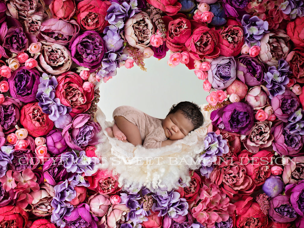Newborn Digital Backdrop - Peony Flower Wall Nook , Instant Download, Ready for you to Edit