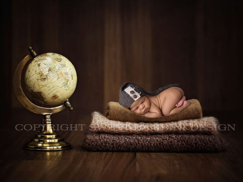 Newborn Digital Background - Globetrotter Baby, Instant Download, Ready for you to Edit