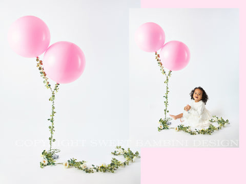 Sitter Digital Backdrop - Pretty Pink Balloons, sitter shoot,  2nd birthday