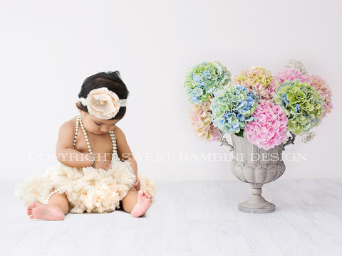 Sitter Digital Backdrop -  Fresh Hydrangeas on a white background