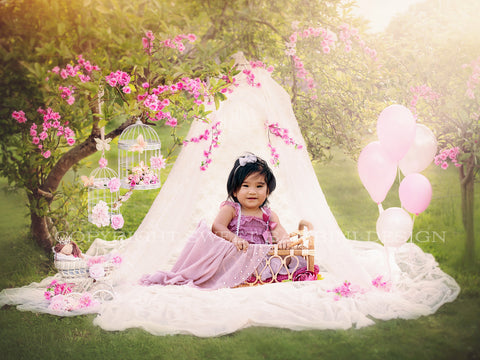 Sitter Digital Backdrop, Cake Smash digital - Lacy Teepee / Wigwam shot outdoors