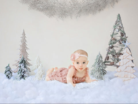 Christmas Sitter Digital Backdrop - Snow covered Christmas Trees with a sparkly garland