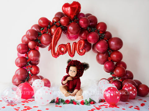Valentines Digital Backdrop for Sitters - Balloon Arch