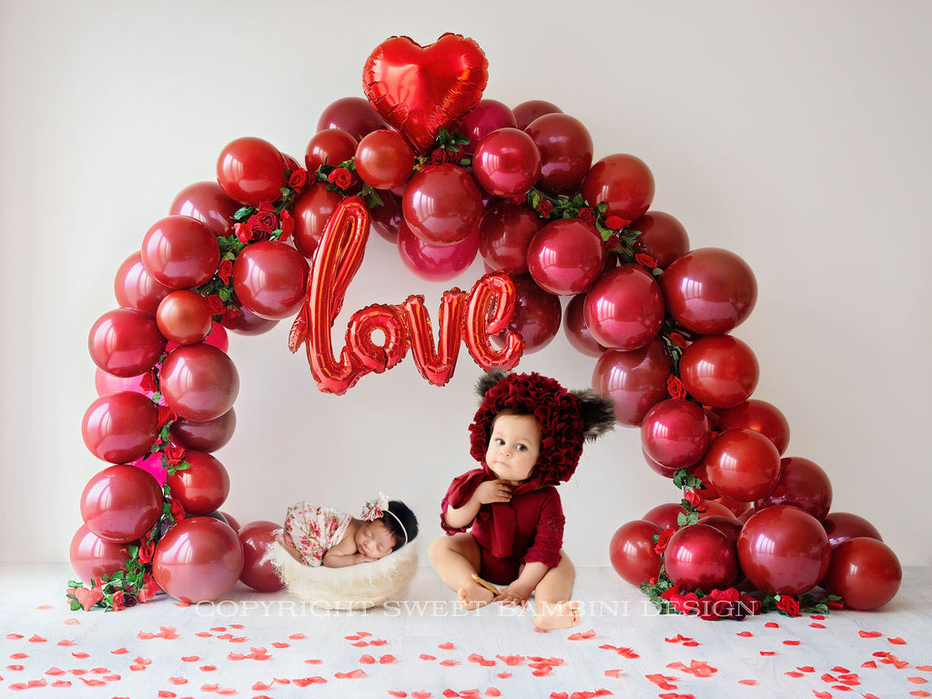 Valentines Day Digital Backdrop Newborn and Sitter - LOVE Balloon Arch with roses