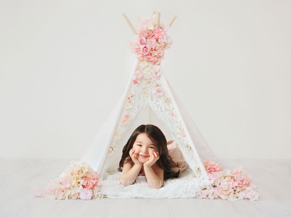 Digital Backdrop for sitters - Floral Teepee